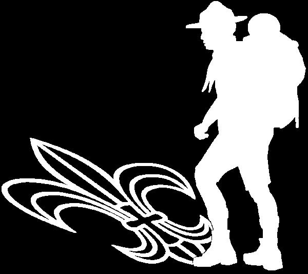 Logo Lebensfahrten Wanderer mit Lilie